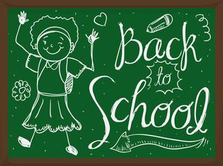 Tender Girl Doodle Drawing in Chalkboard for Back to School, Vector Illustration