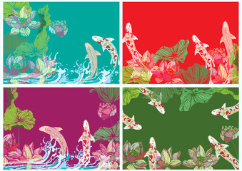 Set vector hand drawn lotus and fish for backgrounds, graphics and text.