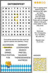 Oktoberfest themed word search puzzle (English language). Answer included.