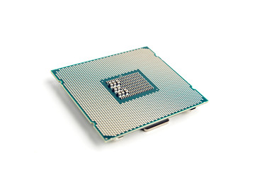 High End Computer Processor On White Background Closeup View