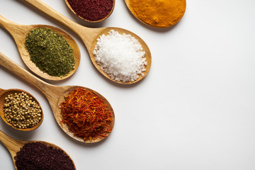 Foto op Canvas Kruiden 2 Indian spices isolated on white background with copy space