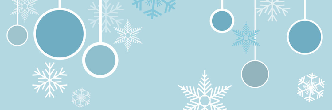 Vector banner,  blue winter and christmas background with ice and snow