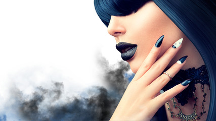 Wall Mural - Fashion Halloween model girl with trendy gothic black hairstyle, makeup and manicure