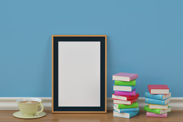 Mockup poster in the room with books and a cup,3D illustration.