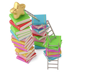 Star on book stacks with ladders,3D illustration.
