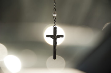 Crucifix in center of spotlight