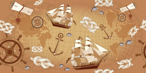 Old map seamless pattern. Sea adventure stories concept. Vintage compass, sailboat, anchor, ancient map of the world seamless background