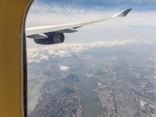 New York aerial view through airplane window