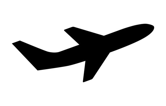 airline airplane or jetliner flight take off with two wings flat vector icon for apps and websites