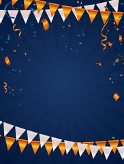 Orange White balloons, confetti concept design. Celebration background. Vector illustration
