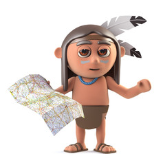3d Funny cartoon Native American Indian is reading a map