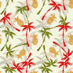 Seamless pattern with silhouettes tropical coconut palm trees, fruits pineapples
