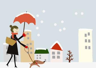 冬のイメージ 若い女性 犬の散歩