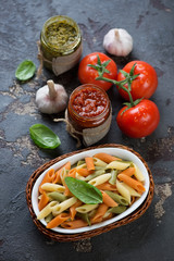 Penne pasta of italian flag colors with red pesto and basil pesto sauces, studio shot