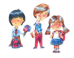 Watercolor cute school children with backpacks