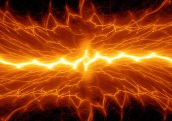 Hot fire lightning, burning plasma