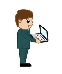 Cartoon Businessman Holding Laptop