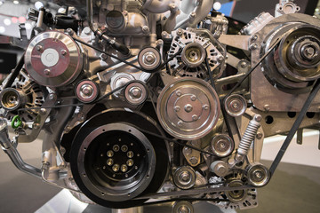 Close up of diesel engine