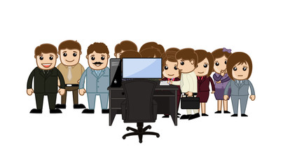 Cartoon Office Employees