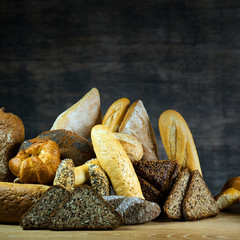 Different bread and bread slices. Food background.