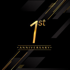 one years anniversary celebration logotype. 1st anniversary logo golden colored isolated on black background, vector design for greeting card and invitation card.