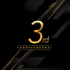 three years anniversary celebration logotype. 3rd anniversary logo golden colored isolated on black background, vector design for greeting card and invitation card.