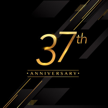 thirty seven years anniversary celebration logotype. 37th anniversary logo golden colored isolated on black background, vector design for greeting card and invitation card.