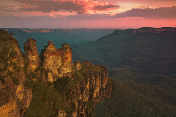 Three Sisters at Sunset, Blue Mountains, Australia