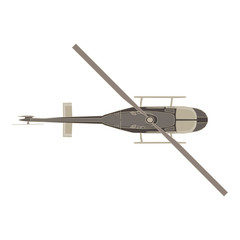 Vector helicopter flat icon isolated. Aircraft top view illustration design aviation. Cartoon chopper commercial