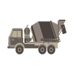 Concrete mixer icon. Truck with special equipment. Isolated on white background. Construction machinery. Flat style