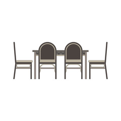 Vector table chair two flat icon isolated. Restaurant furniture side view illustration. Cafe dinner design interior