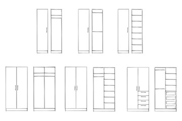 2d Sketch Wardrobe Design Collection Isolated On White Background Furniture
