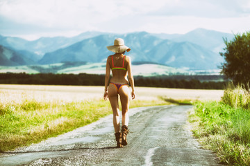 Outgoing girl in country