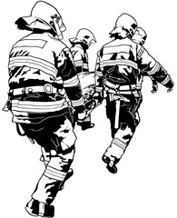 Firefighters and Saved Man on Stretcher - Black and White Illustration, Vector