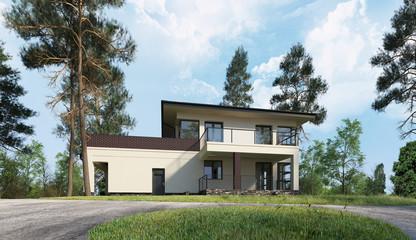 Haus oder Villa steht im Wald mit großem Garten