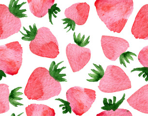 watercolor seamless pattern with strawberry isolated on white background
