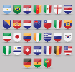 Flags world vector set national illustration symbol international america collection all south country Europe sign