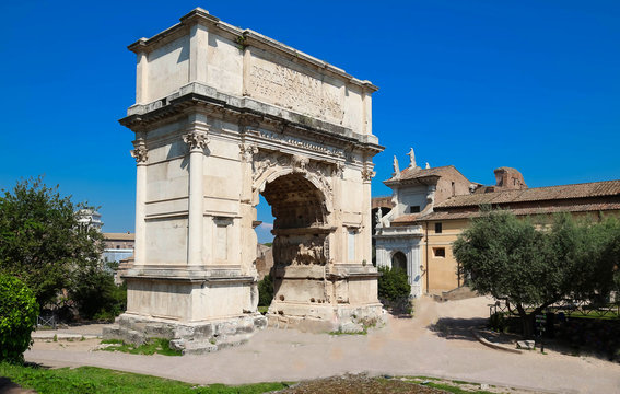 The Arch of Titus is a 1st-century honorific arch located on the Via Sacra, Rome, Italy.