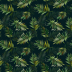 Seamless pattern with watercolor tropical leaves. Can be used for gift wrapping, background of web pages, as a print for any printing products.