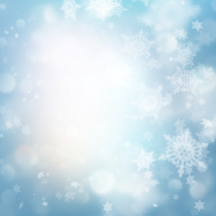 Abstract blue bokeh lights, defocused Holiday background. EPS 10 vector