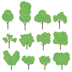 Tree set flat icon vector illustration. Green plant. Botany design eco floral forest garden natural