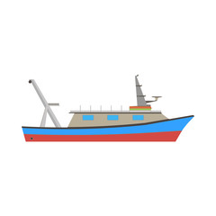 Boat fishing fish vector sea ship marine illustration flat icon design fishing coral food blue color