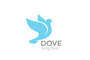 Flying Dove silhouette Logo vector. Pigeon Bird Logotype icon