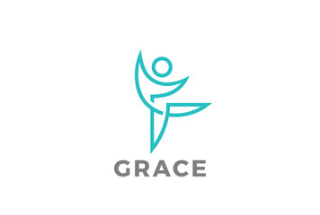 Fitness Dancing character abstract Logo vector Grace linear icon