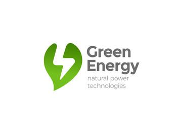 Wall Mural - Green Energy Power Logo vector. Leaf Thunderbolt Flash icon