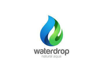 Wall Mural - Water drop Logo vector. Droplet eco natural aqua blue green icon