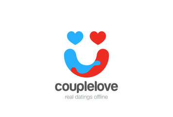 Hearts Couple Hug Smile Logo vector. Valentines Day Love Dating