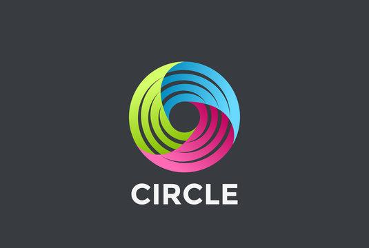 Social Teamwork infinite Circle Logo loop vector. Infinity icon