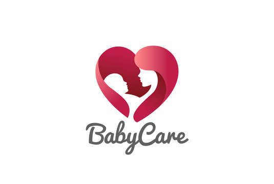 Mother holding Child baby Heart Logo vector. Clinic Care icon