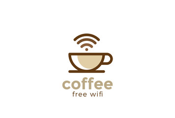 Coffee cup Cafe with free wifi Logo design vector Linear style